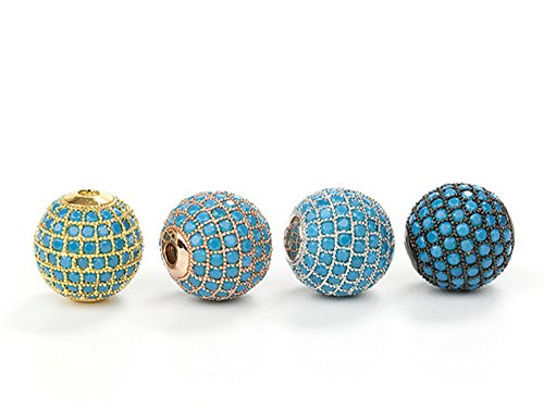 jennysun2010 Randomly Mixed 8mm Zircon Gemstones Pave Turquoise Round Ball Bracelet Connector Charm Spacer Beads 5 pcs per Bag for Necklace Earrings Jewelry Making Crafts Design