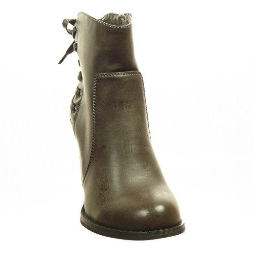 Angkorly - Scarpe da Moda Stivaletti - Scarponcini low boots donna lacci Tacco a blocco tacco alto 8 CM - soletta Foderato di Pelliccia - Grigio