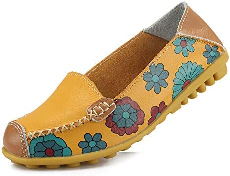 Ablanczoom Womens Comfortable Leather Floral Print Flats Casual Driving Loafers Walking Shoes for Women