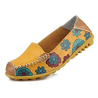 Ablanczoom Womens Comfortable Leather Floral Print Flats Casual Driving Loafers Walking Shoes for Women Yellow