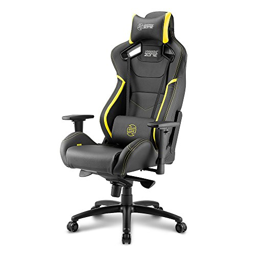 Sharkoon SHARK ZONE GS10 – Silla Gaming, Cuero Sintetico, Acero, Negro/Amarillo