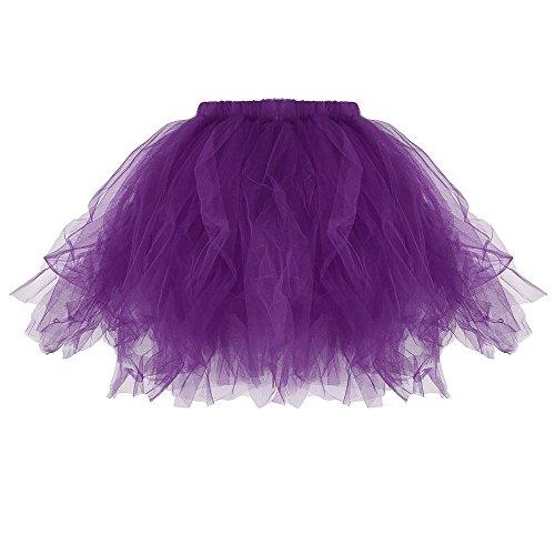 POachers Jupon Jupe Ballet Tutu Court en Tulle Adulte Femme Rose Tutu Style annes 50 Violet