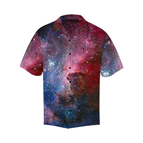 InterestPrint Men Summer Carina Nebula in Infrared Light T-Shirts Short Sleeve Tops M
