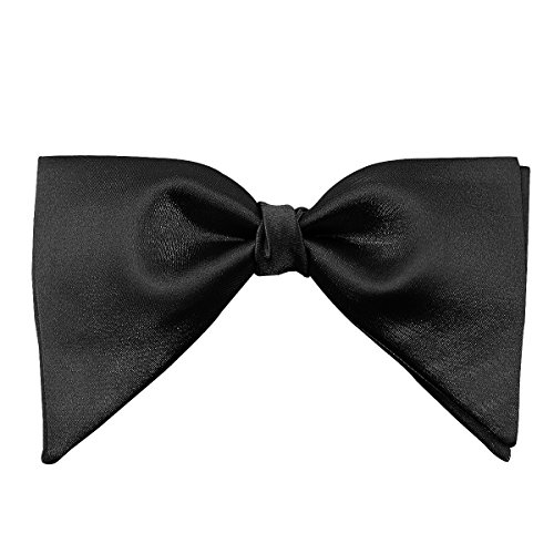 Mens 100% Satin Silk Oversized Pre-tied Bowtie Handmade Solid Formal Tuxedo Big Bow Ties Various Colors (Black) ()