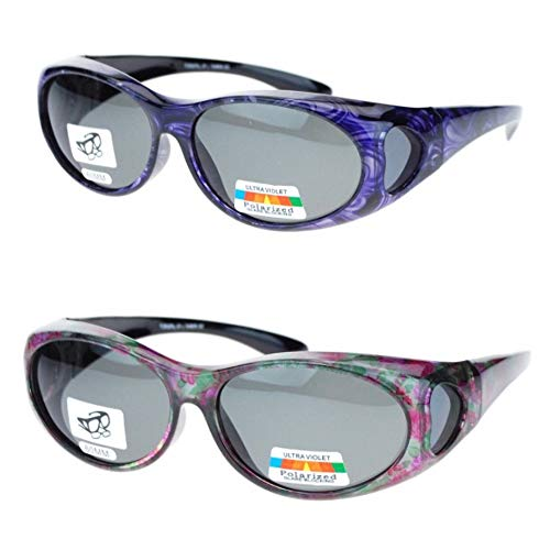 (2 Pair Polarized Fit Over Oval Sunglasses - small -Floral/Purple)