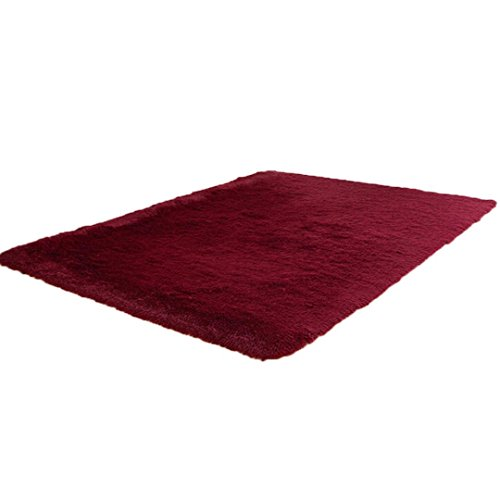Shaggy Anti-skid Carpets Rugs Floor Mat/Cover 80x120cm (Red) - 9