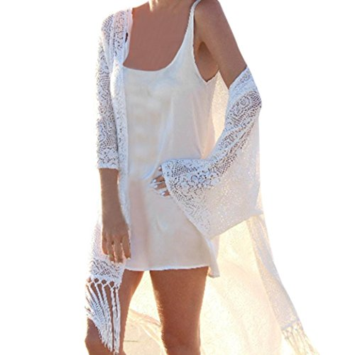 Lookatool 2018 Fashion Tops, Women Shawl Kimono Cardigan Cover up Beach Tassel - Frill Detail Cardigan
