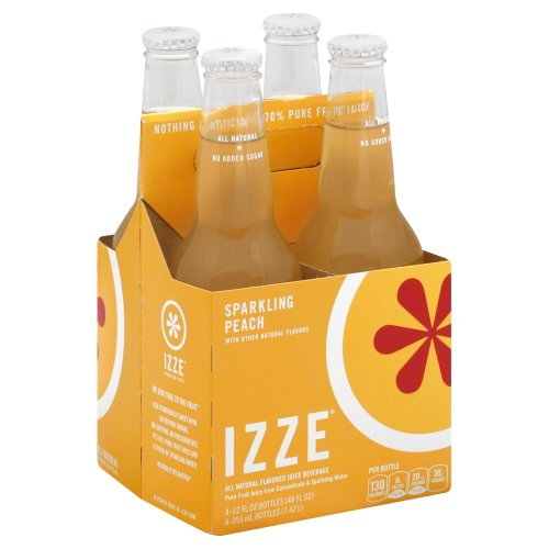 IZZE Sparkling Peach Juice 4 bottle X 12 oz (Pack of 6)