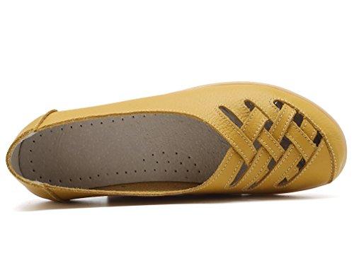 Keesky Kvinners Lær Uformelle Kutte Ut Loafers Flat Slip-on Sko Gul