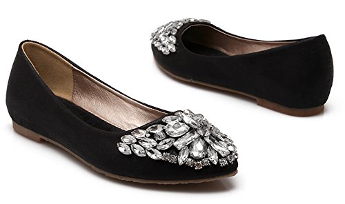 Noir Chaussure Bout Pointu Plate Femme Strass Easemax Ballerines Confortable xw8URnSn