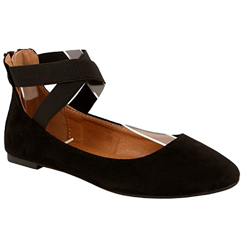 Product image of Guilty Heart | Womens Elastic Straps Shoe | Stretchy Comfortable Ballerina Ballet Flats