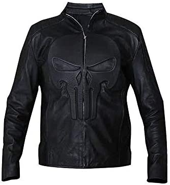 Men Punisher Embossed Skull Emblem Frank Castle Thomas Jane Black Leather Jacket