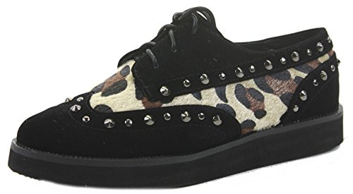 femmes Cheetah Taille Black Chaussures à Creepers Chaussures Punk talon lacets 5 Plateforme compensé Funky plates pour Style Goth Twaxq5wO4