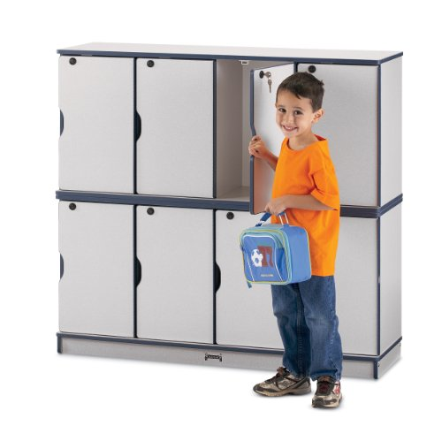 Rainbow Accents 4688JC112 Stacking Lockable Lockers, Single Stack, Navy