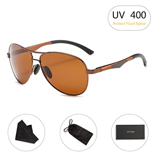 Aviator Sunglasses RAYSUN Aluminum Polarized Vintage Sun Glasses for Men Women UV - Sunglasses Bronze