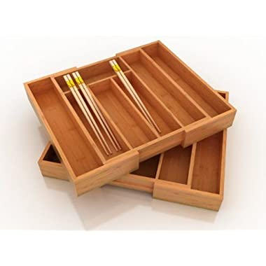 B&E Home Essential Bamboo Expandable Utility Drawer Organizer (ONE UNIT IN THE PACKAGE)