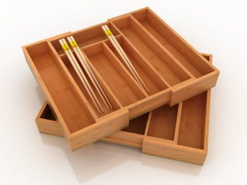 B&E Home Essential Bamboo Expandable Utility Drawer Organizer, (One Unit in the (Bamboo Unit)