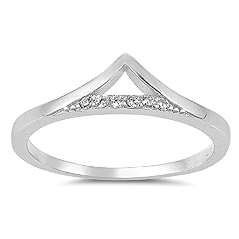 Pointed White CZ Chevron Thumb Ring New .925 Sterling Silver Band Size 5 (RNG17595-5) (Chevron Cz Ring)