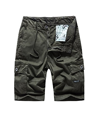 FOURSTEEDS Women Multi-Pockets Cargo Shorts Elastic Tie Drawstring Waist for Casual Working Army (Green Pocket Shorts)