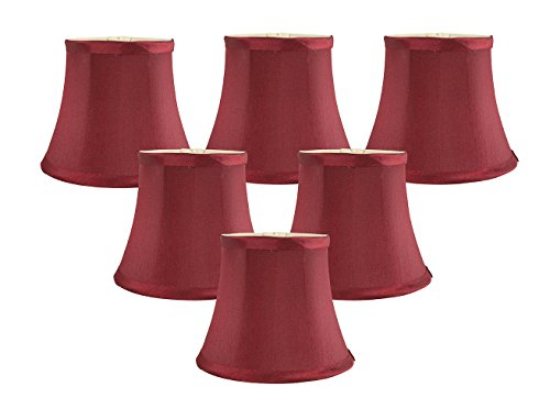 Meriville Set of 6 Burgundy Faux Silk Clip On Chandelier Lamp Shades, 4-inch by 6-inch by 5-inch (Silk Chandelier)