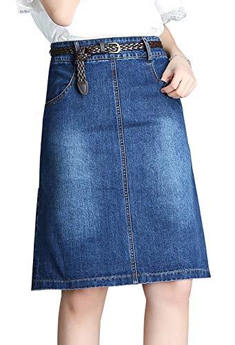 chouyatou Women's Simple Style A-Line Flat Front Midi Denim Skirt (Large, Blue)