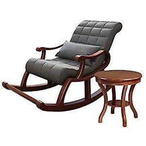 AZJ-AJR Sedia a Dondolo reclinabile Poltrona in Legno massello Patio Sedia a Dondolo Ottimizzata mobili da Giardino con… 4 spesavip