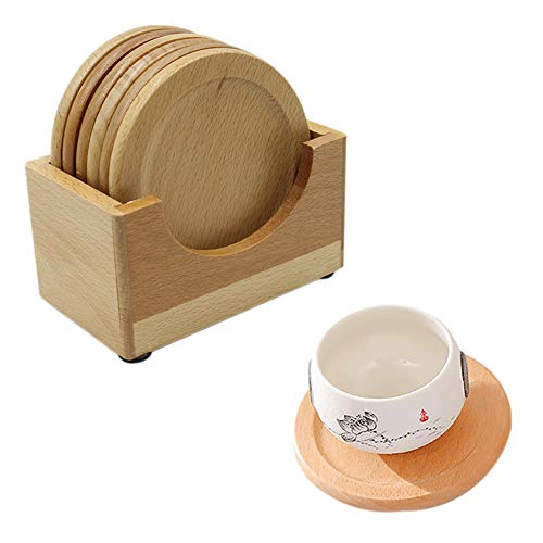 (Drink Coasters Set of 6 with Holder, Round Wood Cap Mat Caddy Gift Box Stand)