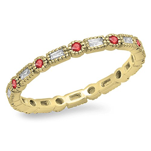 Dazzlingrock Collection 14K Round & Baguette Ruby & White Diamond Wedding Eternity Stackable Band, Yellow Gold, Size 7