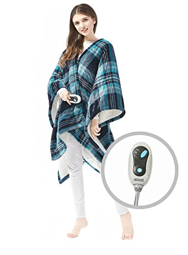 (Beautyrest Ultra Soft Sherpa Berber Fleece Electric Poncho Wrap Blanket Heated Throw with Auto Shutoff 50