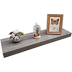 "Homewell Wood Floating Wall Shelf for Home Decoration, 36""x9.25""x2"", Grey"