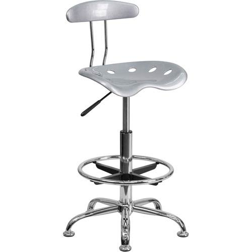 Parkside Vibrant Silver and Chrome Drafting Stool with Tractor Seat