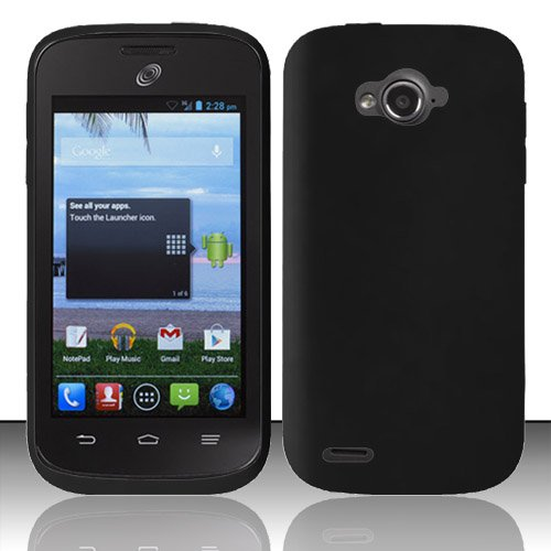 For ZTE Savvy Z750c / ZTE Awe N800 / ZTE Reef N810 (StraightTalk/Virgin Mobile) Silicon Skin Case - Black SC (Virgin Mobile Zte N800)