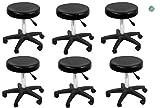 Set of 6 TERRELL Salon/Spa Stool (Black) with Adjustable Height & castors, Ideal for Massage, Facial, Pedicure spa, Tattoo studio