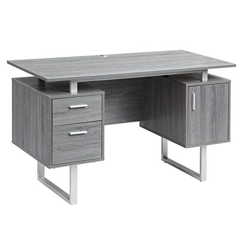 Techni Mobili RTA-7002-GRY Modern Office Desk with Storage, Gray