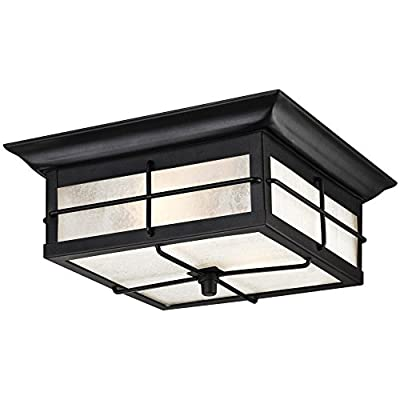 Westinghouse 6204800 Orwell 2 Light Outdoor Flush Mount Fixture, Textured Black - Two-light outdoor wall lantern is perfect for use in front or back entryways or by a garage door Textured Black finish on Steel adds a touch of traditional Style to any outdoor space 4-5/8 inches height; 11 inches square with Frosted seeded glass - patio, outdoor-lights, outdoor-decor - 41TFEVbBpYL. SS400  -