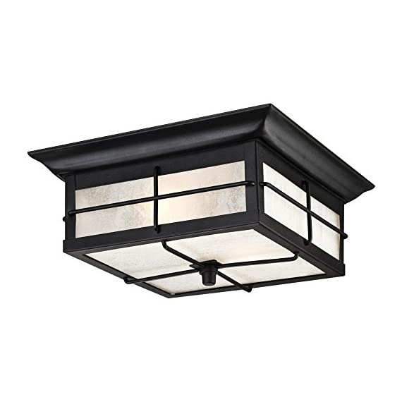 Westinghouse Lighting 6204800 Orwell 2 Light Outdoor Flush Mount Fixture, Textured Black - Two-light outdoor wall lantern is perfect for use in front or back entryways or by a garage door Textured Black finish on Steel adds a touch of traditional Style to any outdoor space 4-5/8 inches height; 11 inches square with Frosted seeded glass - patio, outdoor-lights, outdoor-decor - 41TFEVbBpYL. SS570  -