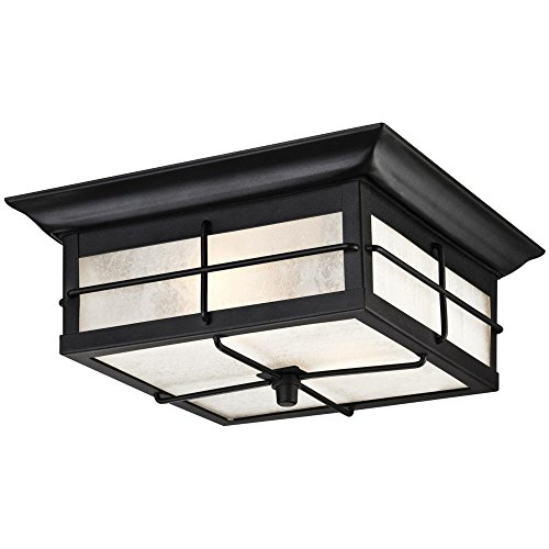 Westinghouse 6204800 Orwell 2 Light Outdoor Flush Mount Fixture, Textured Black - Light Outdoor Ceiling Fixture