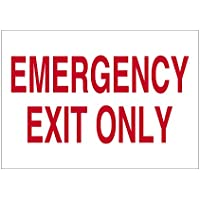Imprint 360 AS-10002V Vinyl ADHESIVE Workplace Emergency Exit Only Sign- 7 x 10, White / Red, PROUDLY Made in the USA, Great Resistance to Water and Most Chemicals