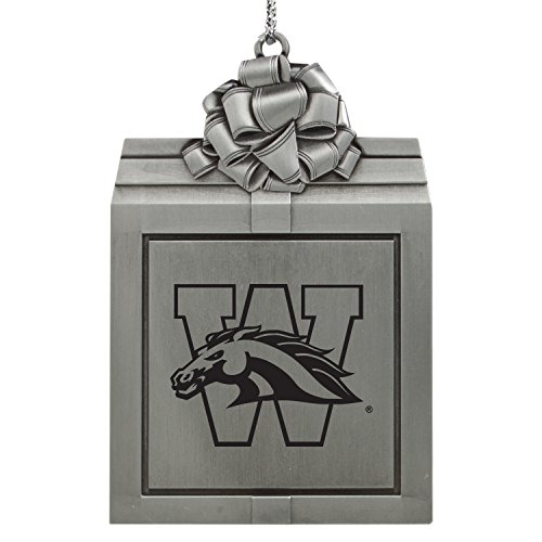 Western Michigan University-Pewter Christmas Holiday Present Ornament-Silver
