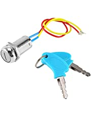2 Wire Motorcycle Ignition Switch, Rocker Switch, Key Ignition Switch Locking Keys Lock for Electric Scooter ATV Moped Kart