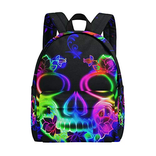 School Backpack Daypack Lightweight Horror Colorful Skull Ghost Halloween Rucksack Canvas Book Bag for boys girls Kids Teens -