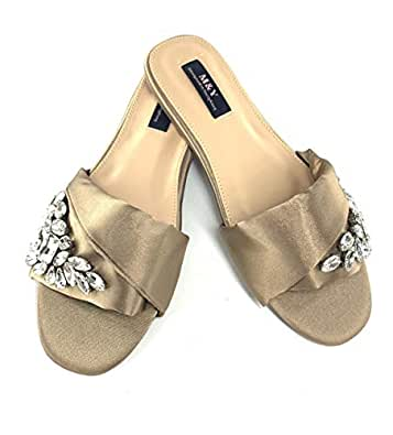 M&Y ladies flat slippers new (2019 summer)-Brown