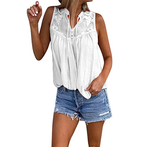 Wintialy 2019 Womens Fahsion Chiffon Stitching Lace V-Neck Sleeveless Shirt Tops Blouse White ()