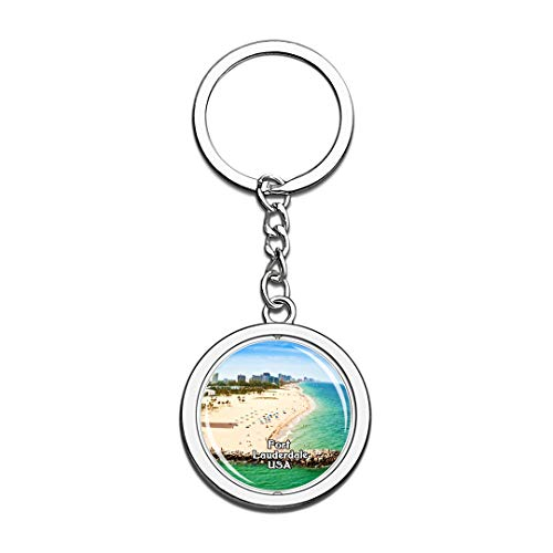 USA United States Keychain Fort Lauderdale Beach Key Chain 3D Crystal Spinning Round Stainless Steel Keychains Travel City Souvenirs Key Chain Ring]()