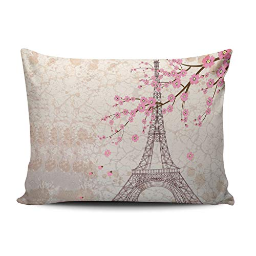 ANLIPU Personalized Decorative Pillowcases Vintage Floral Paris Eiffel Tower Pink Throw Pillow Covers Cases Rectangular Standard Size 20x26 Inches Print on One Side