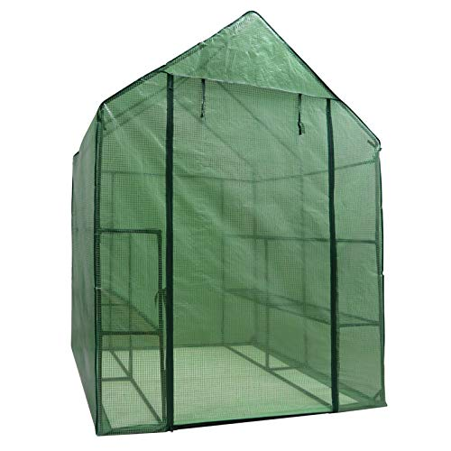 Mini Walk-in Greenhouse Indoor Outdoor -2 Tier 8 Shelves- Portable Plant Gardening Greenhouse (57''L x 57''W x 77''H), Grow Seeds & Seedlings, Herbs Flowers or Tend Potted Plants by Nova Microdermabrasion (Image #2)