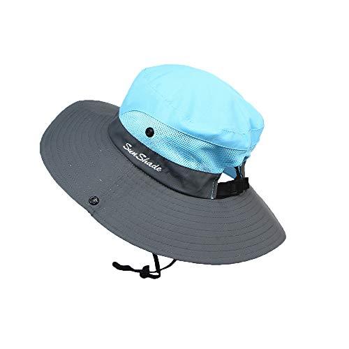 Girls Sun Hats,Fineser Kids Girls Ponytail Summer Sun Hat Wide Brim UV Protection Bucket Cap,Wide Brim Visor Cap (Blue)