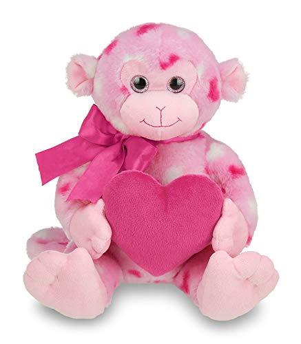 Bearington Lovie Louie Valentines Plush Stuffed Animal Monkey with Hearts, 11 ()