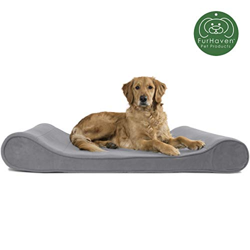 Furhaven Pet Dog Bed | Orthopedic Micro Velvet Ergonomic Luxe Lounger Cradle Mattress Contour Pet Bed for Dogs & Cats, Gray, Jumbo