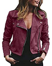 Women Faux Leather Suede Zip up Lapel Moto Biker Jacket